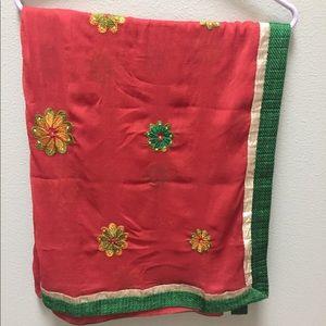 Accessories - Chiffon Scarf Dupatta Shawl Embroidered Red Green